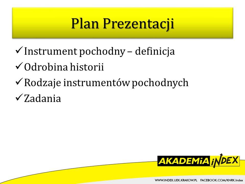 Plan Prezentacji Instrument pochodny – definicja Odrobina historii