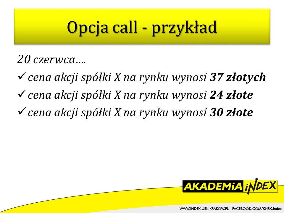 Opcja call - przykład 20 czerwca….