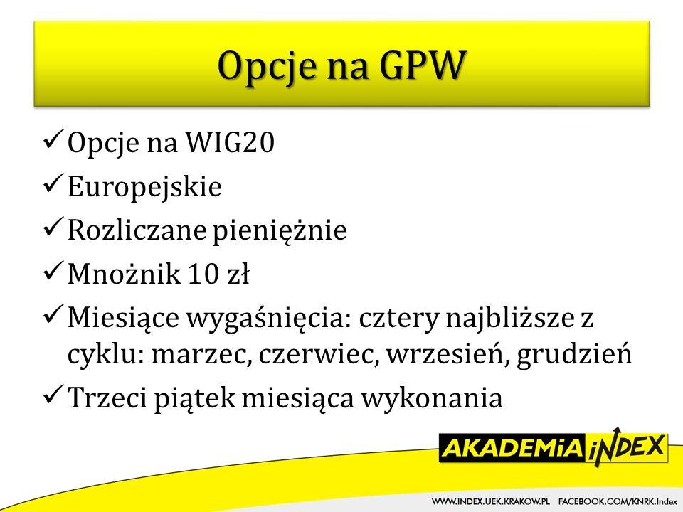 Opcje na GPW Opcje na WIG20 Europejskie Rozliczane pieniężnie