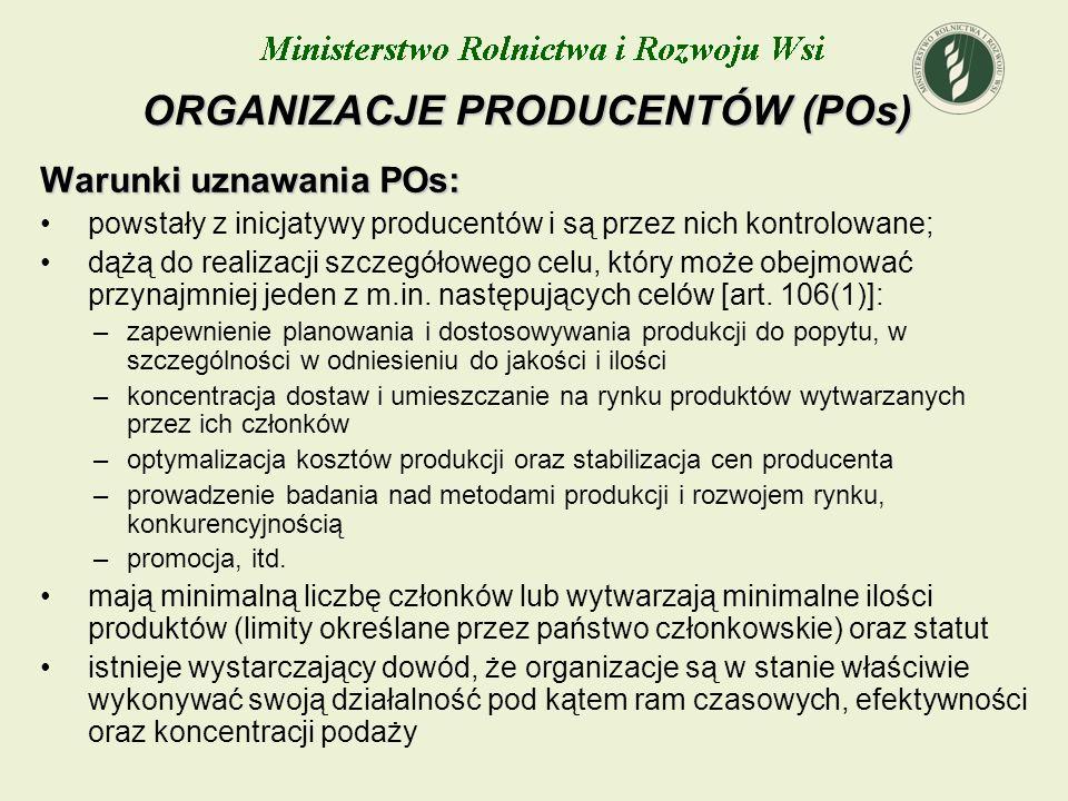 ORGANIZACJE PRODUCENTÓW (POs)