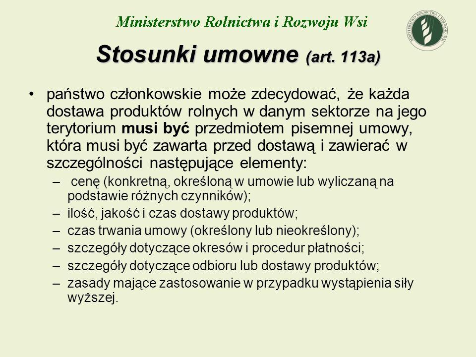 Stosunki umowne (art. 113a)