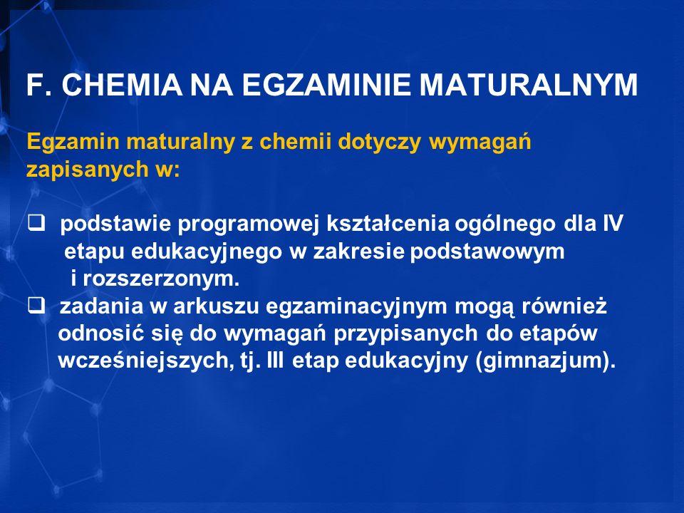 F. CHEMIA NA EGZAMINIE MATURALNYM