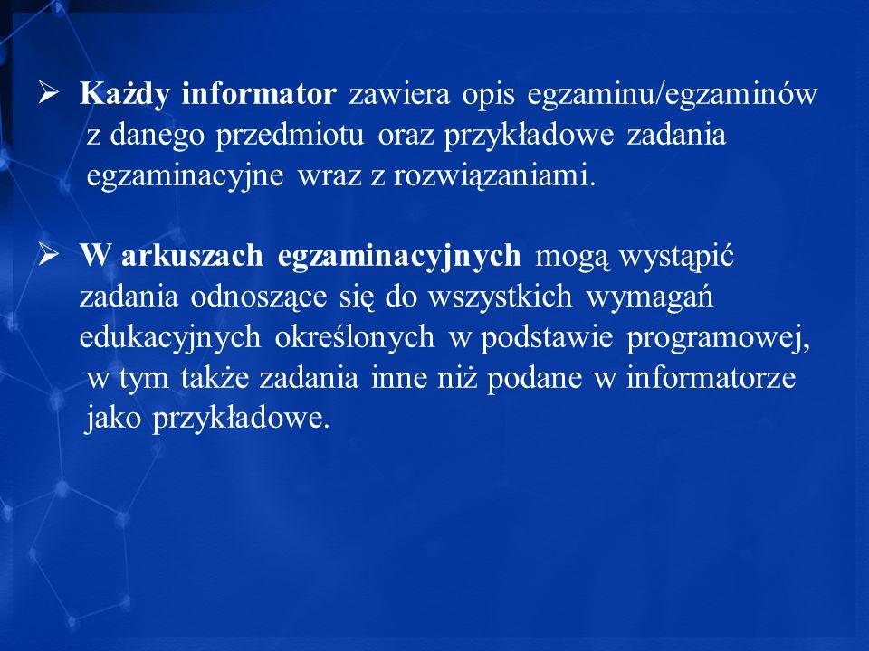 Każdy informator zawiera opis egzaminu/egzaminów