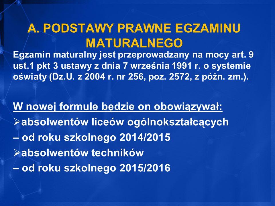 A. PODSTAWY PRAWNE EGZAMINU MATURALNEGO