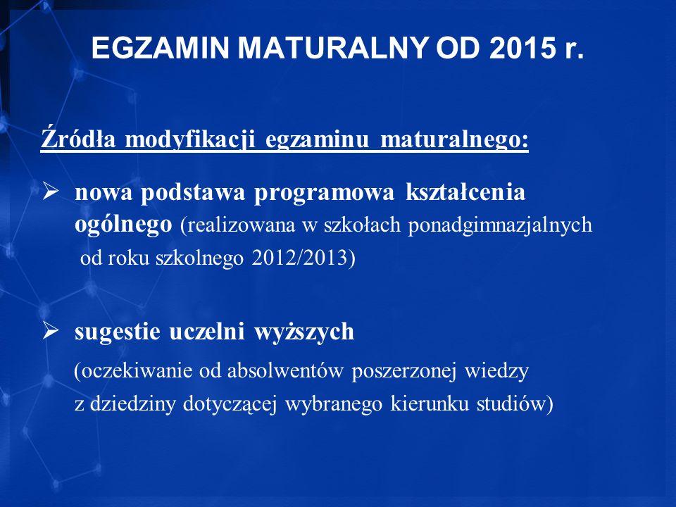 EGZAMIN MATURALNY OD 2015 r. Źródła modyfikacji egzaminu maturalnego:
