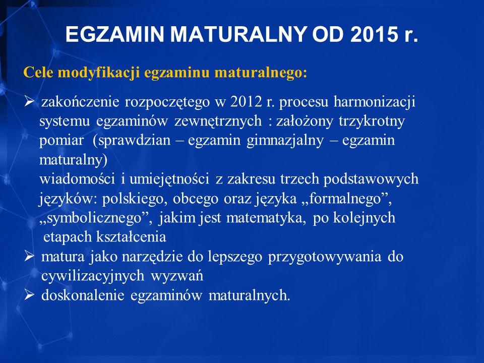 EGZAMIN MATURALNY OD 2015 r. Cele modyfikacji egzaminu maturalnego: