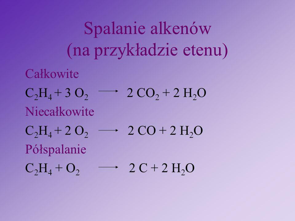 Spalanie alkenów (na przykładzie etenu)