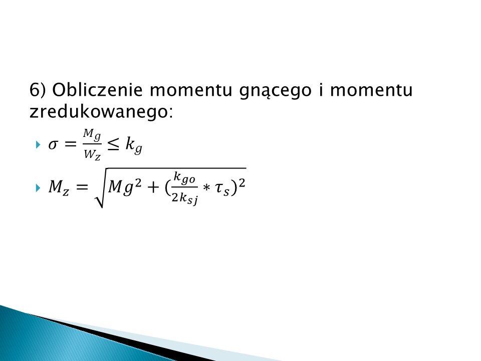 6) Obliczenie momentu gnącego i momentu zredukowanego: