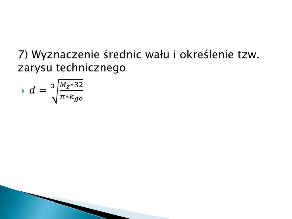 7) Wyznaczenie średnic wału i określenie tzw. zarysu technicznego