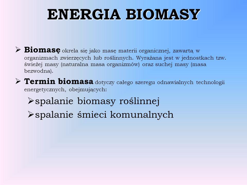 ENERGIA BIOMASY spalanie biomasy roślinnej spalanie śmieci komunalnych