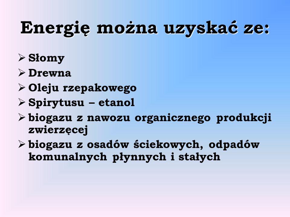 Energię można uzyskać ze: