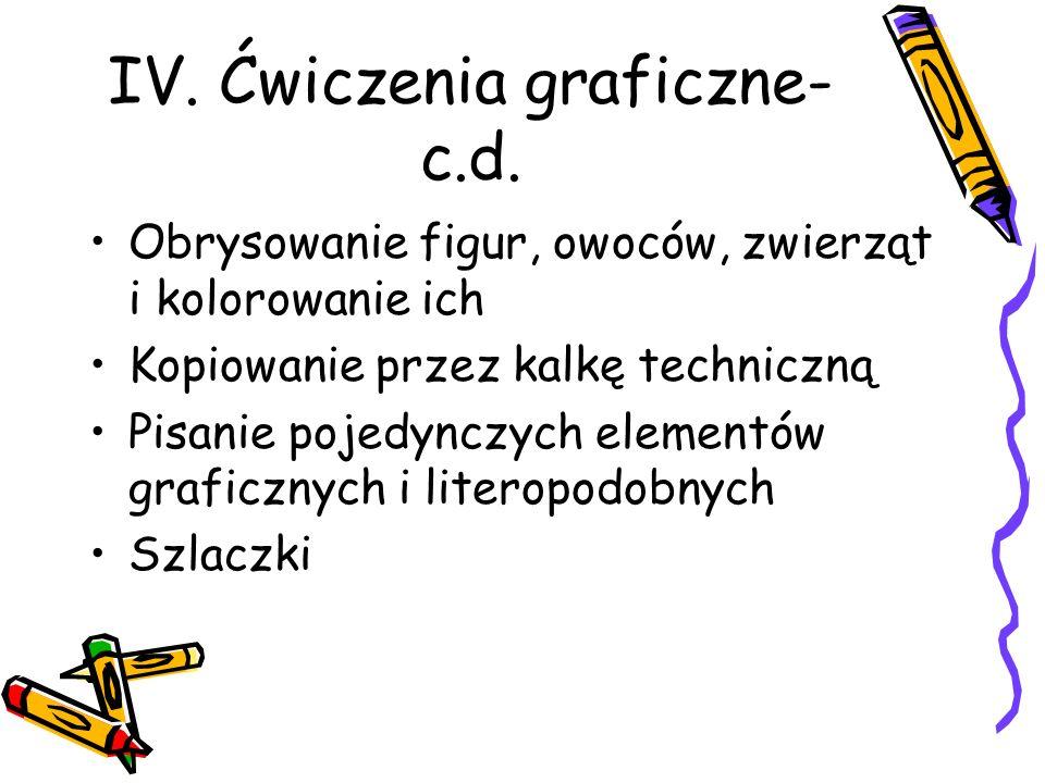 IV. Ćwiczenia graficzne- c.d.