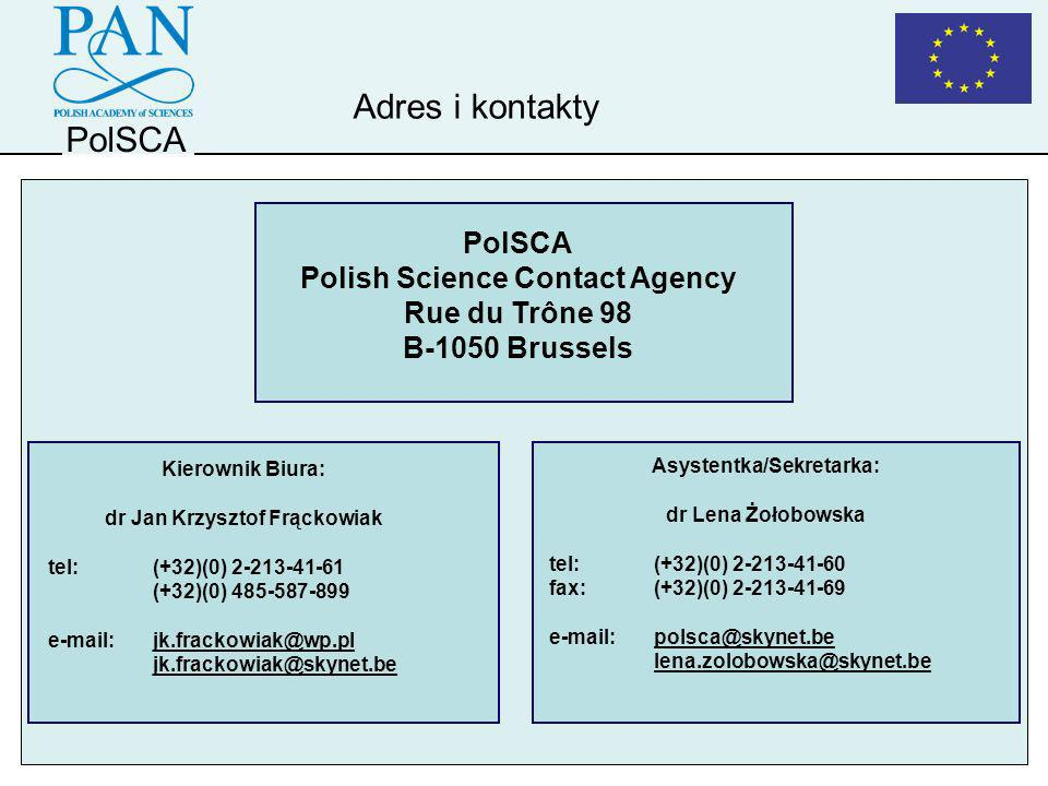 Adres i kontakty PolSCA PolSCA Polish Science Contact Agency