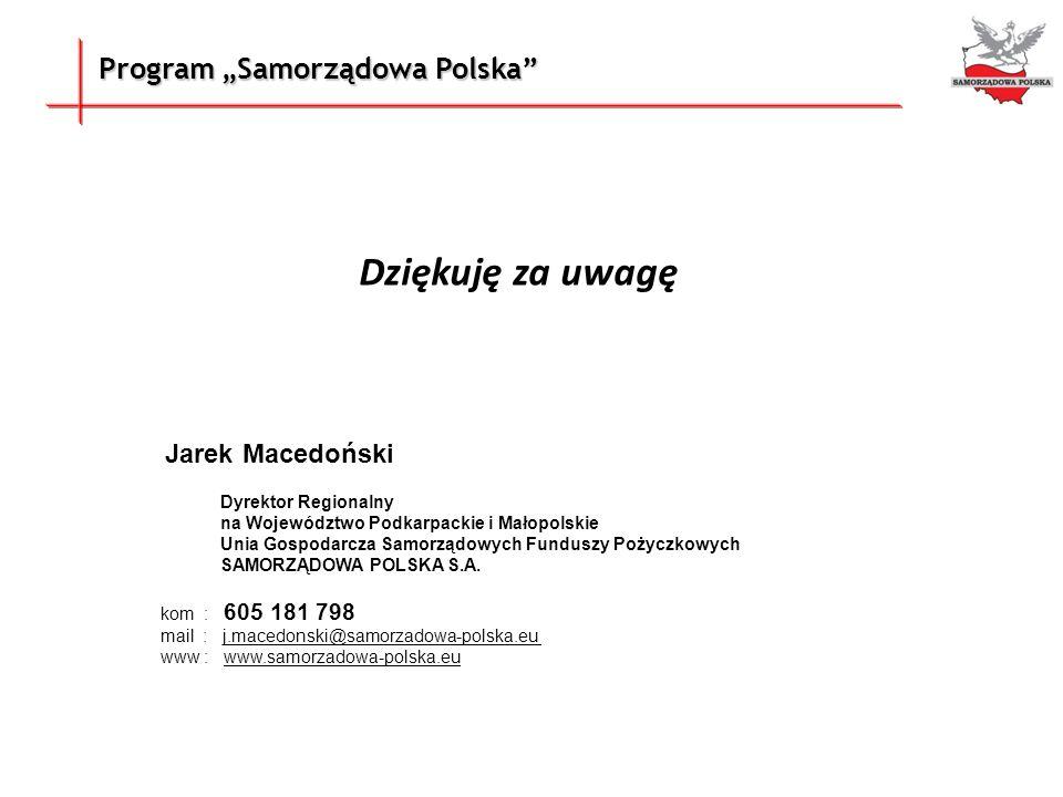 """Dziękuję za uwagę Program """"Samorządowa Polska Jarek Macedoński"""