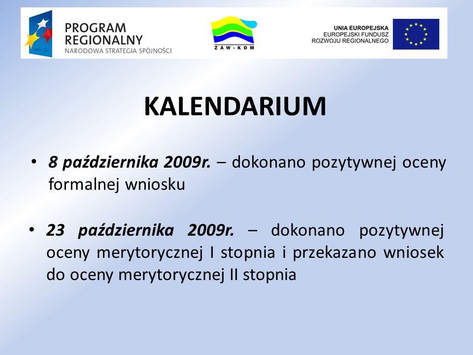 KALENDARIUM 8 października 2009r. – dokonano pozytywnej oceny formalnej wniosku.