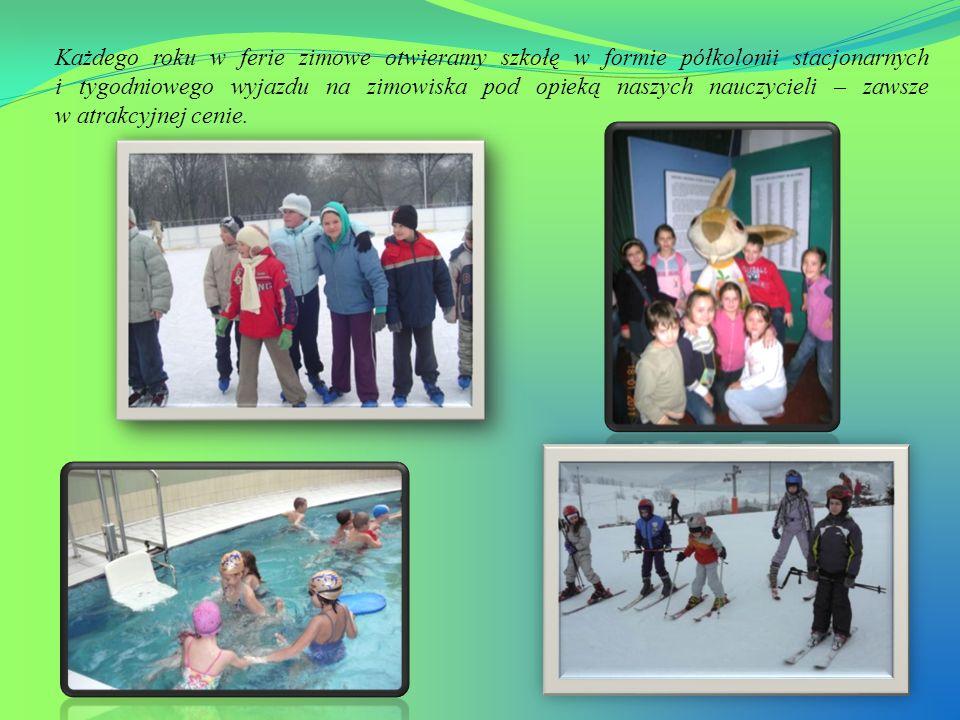 Każdego roku w ferie zimowe otwieramy szkołę w formie półkolonii stacjonarnych i tygodniowego wyjazdu na zimowiska pod opieką naszych nauczycieli – zawsze w atrakcyjnej cenie.
