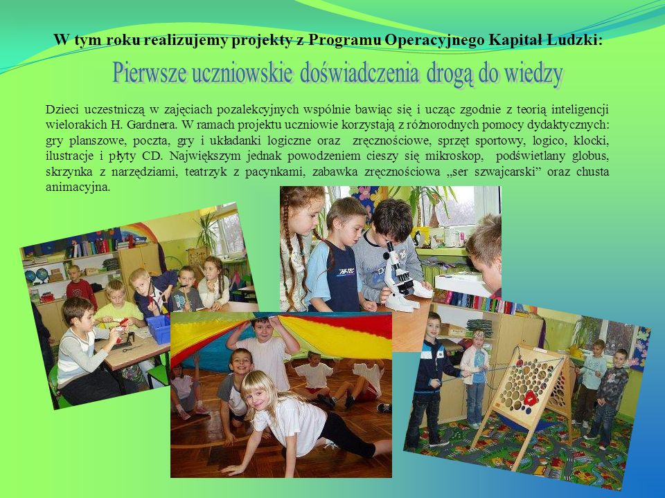Pierwsze uczniowskie doświadczenia drogą do wiedzy