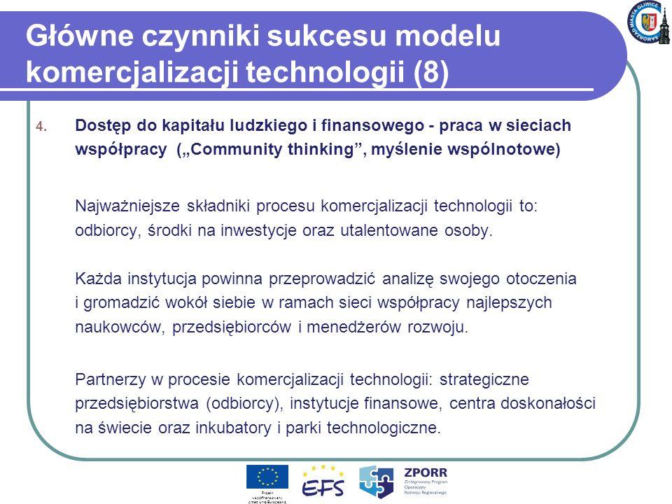 Główne czynniki sukcesu modelu komercjalizacji technologii (8)