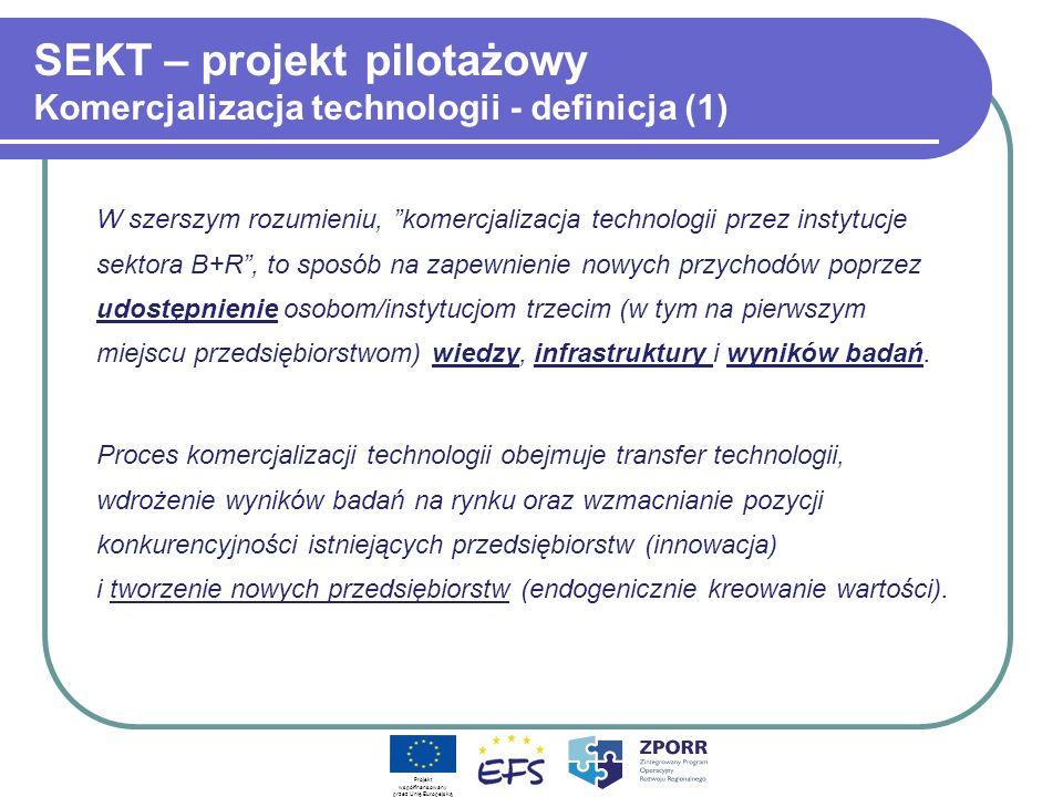 SEKT – projekt pilotażowy Komercjalizacja technologii - definicja (1)