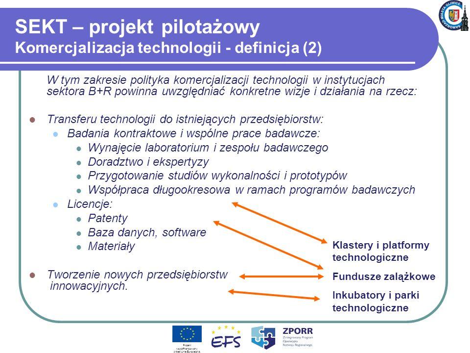 SEKT – projekt pilotażowy Komercjalizacja technologii - definicja (2)