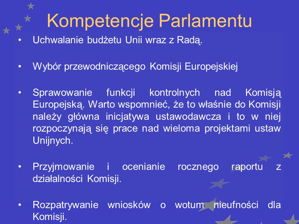 Kompetencje Parlamentu