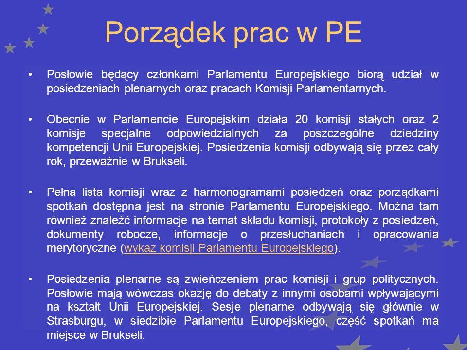 Porządek prac w PE Posłowie będący członkami Parlamentu Europejskiego biorą udział w posiedzeniach plenarnych oraz pracach Komisji Parlamentarnych.