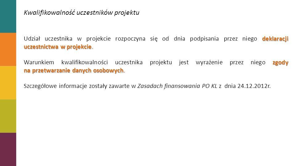 Kwalifikowalność uczestników projektu