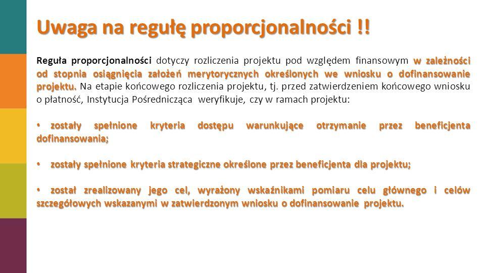 Uwaga na regułę proporcjonalności !!