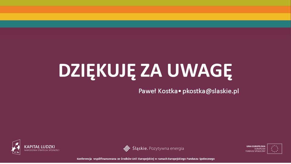 DZIĘKUJĘ ZA UWAGĘ Paweł Kostka• pkostka@slaskie.pl