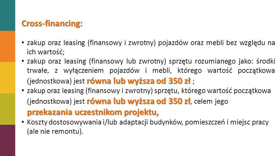 Cross-financing: zakup oraz leasing (finansowy i zwrotny) pojazdów oraz mebli bez względu na ich wartość;