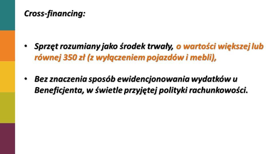 Cross-financing: Sprzęt rozumiany jako środek trwały, o wartości większej lub równej 350 zł (z wyłączeniem pojazdów i mebli),