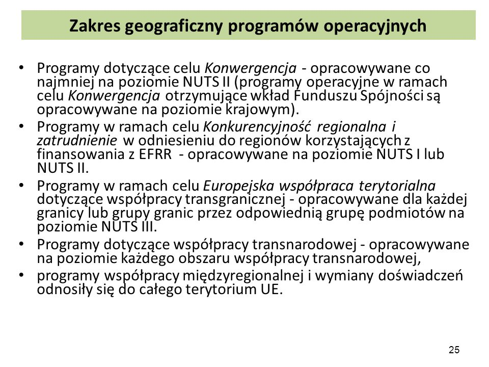 Zakres geograficzny programów operacyjnych