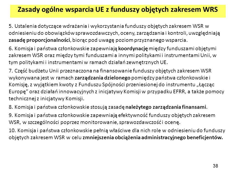 Zasady ogólne wsparcia UE z funduszy objętych zakresem WRS