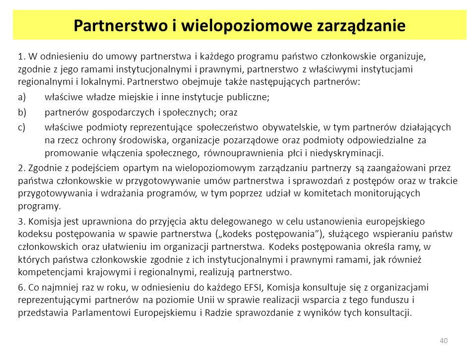 Partnerstwo i wielopoziomowe zarządzanie