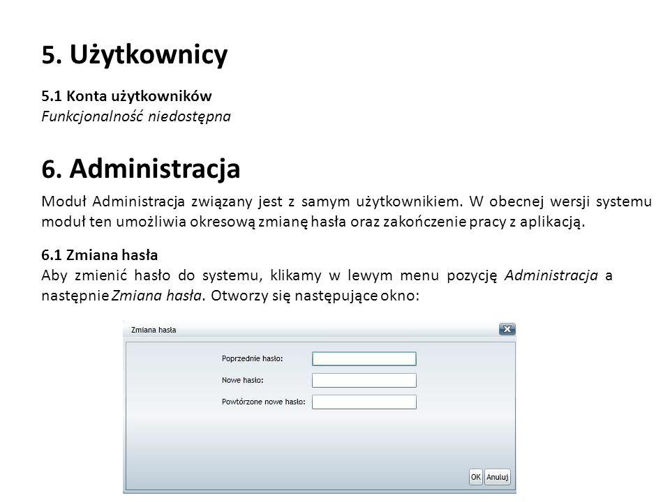 5. Użytkownicy 6. Administracja 5.1 Konta użytkowników
