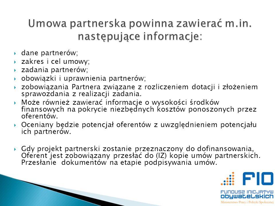 Umowa partnerska powinna zawierać m.in. następujące informacje: