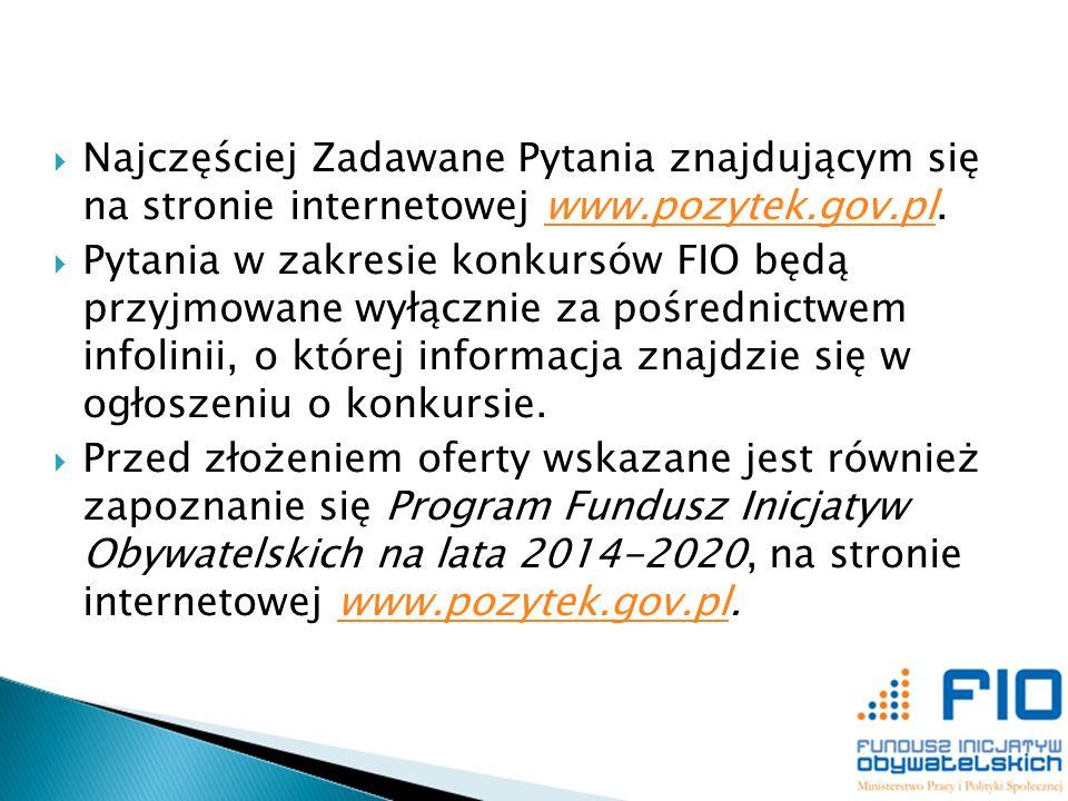 Najczęściej Zadawane Pytania znajdującym się na stronie internetowej www.pozytek.gov.pl.