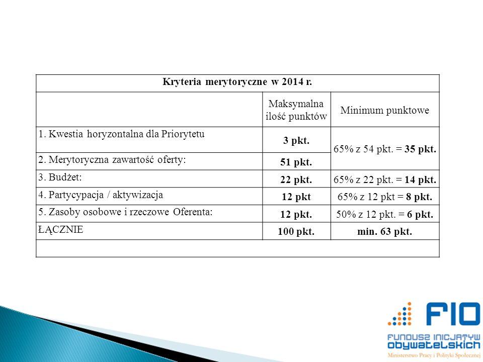 Kryteria merytoryczne w 2014 r.