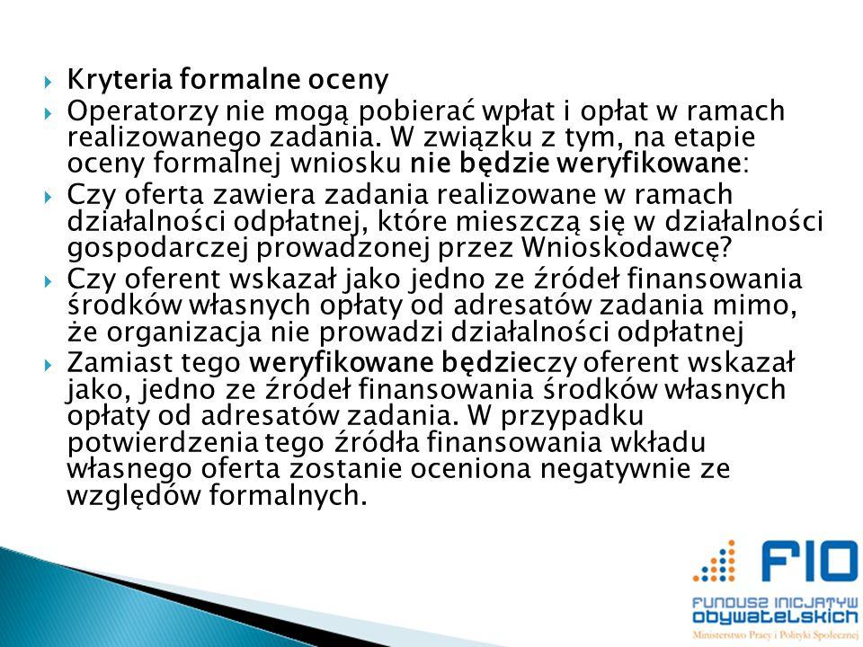 Kryteria formalne oceny