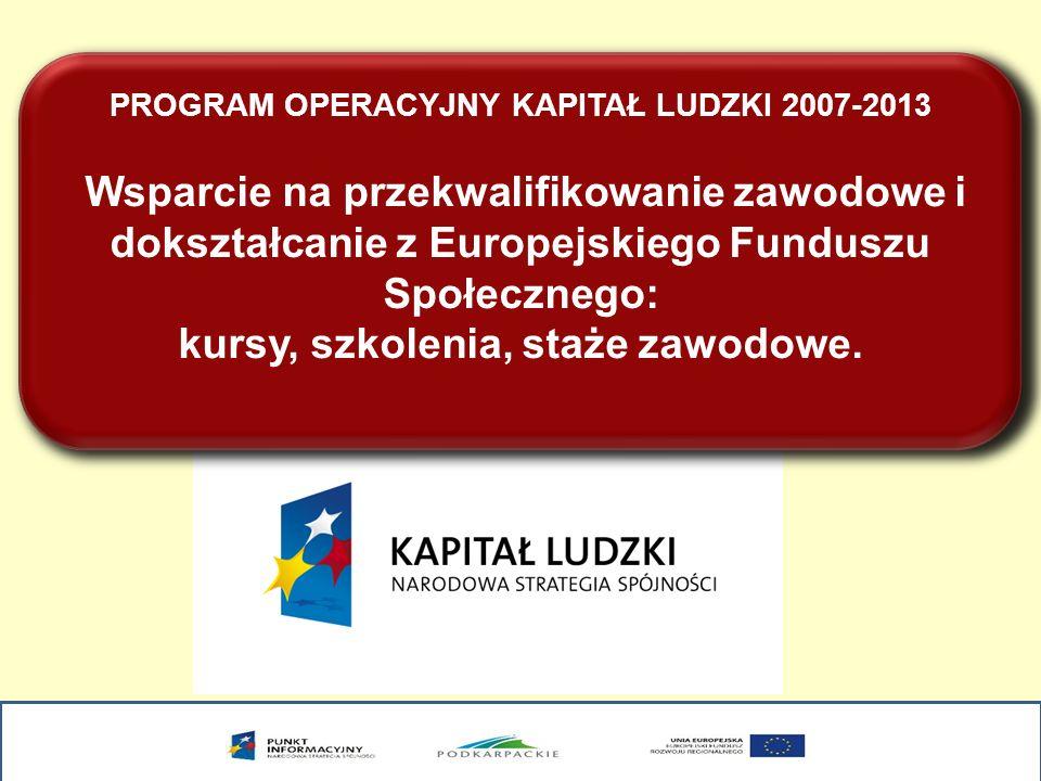 PROGRAM OPERACYJNY KAPITAŁ LUDZKI 2007-2013 Wsparcie na przekwalifikowanie zawodowe i dokształcanie z Europejskiego Funduszu Społecznego: kursy, szkolenia, staże zawodowe.