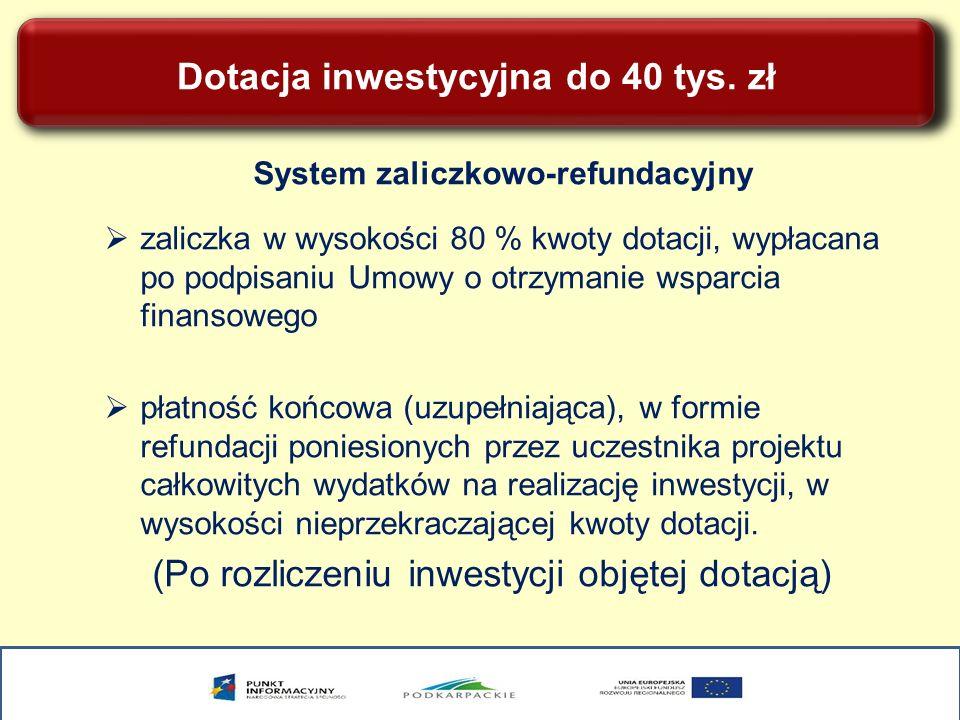 Dotacja inwestycyjna do 40 tys. zł