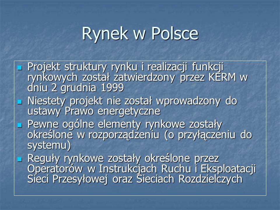 Rynek w Polsce Projekt struktury rynku i realizacji funkcji rynkowych został zatwierdzony przez KERM w dniu 2 grudnia 1999.