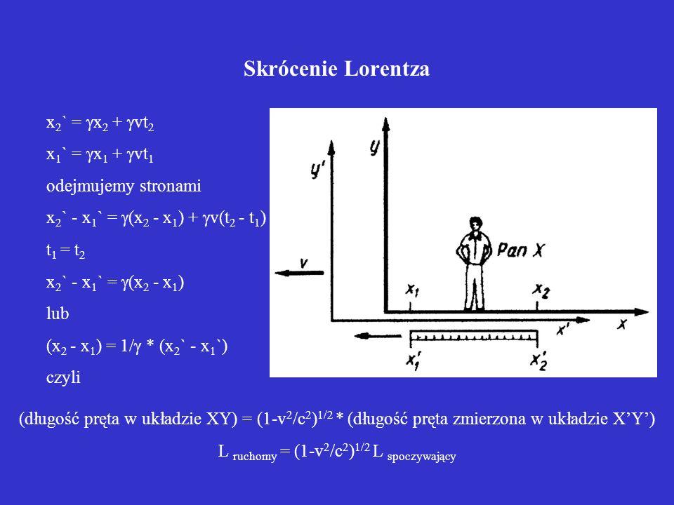 L ruchomy = (1-v2/c2)1/2 L spoczywający