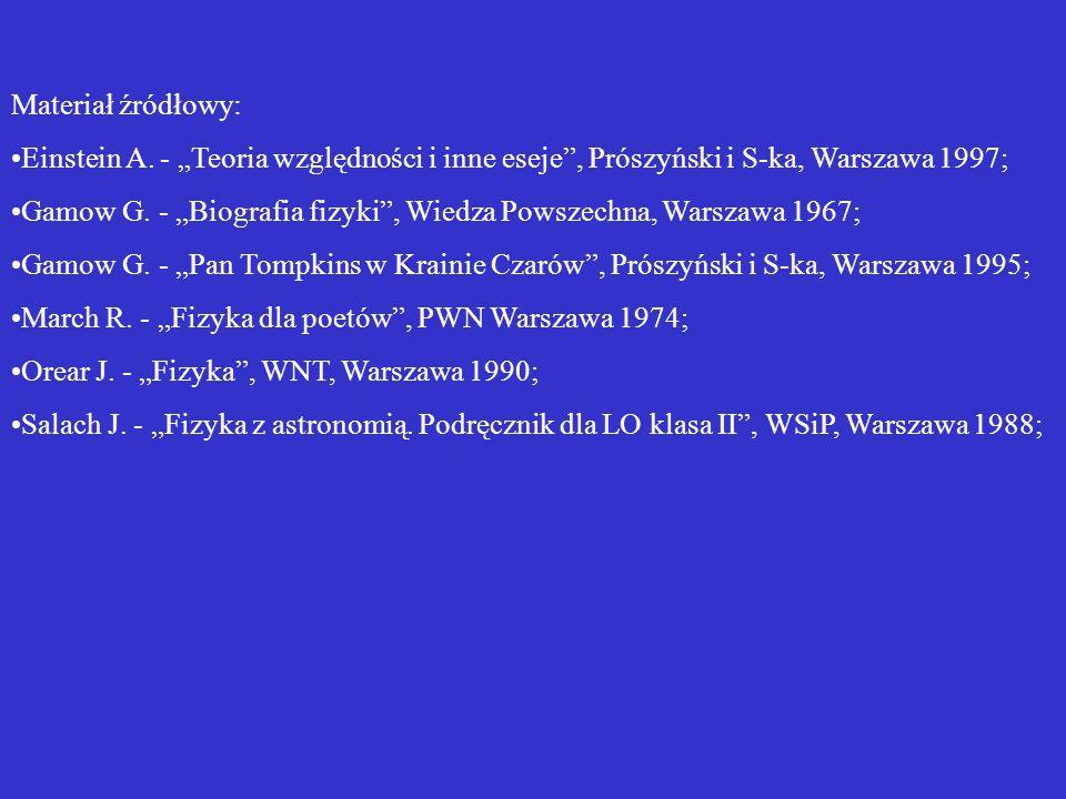 """Materiał źródłowy: Einstein A. - """"Teoria względności i inne eseje , Prószyński i S-ka, Warszawa 1997;"""