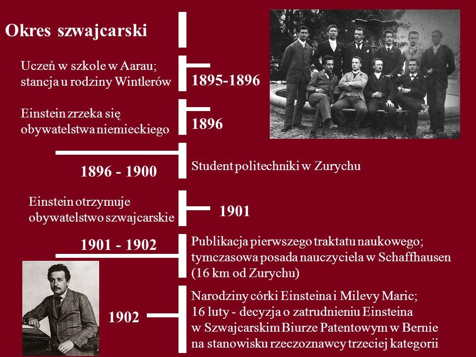 Okres szwajcarski Uczeń w szkole w Aarau; stancja u rodziny Wintlerów. 1895-1896. Einstein zrzeka się obywatelstwa niemieckiego.