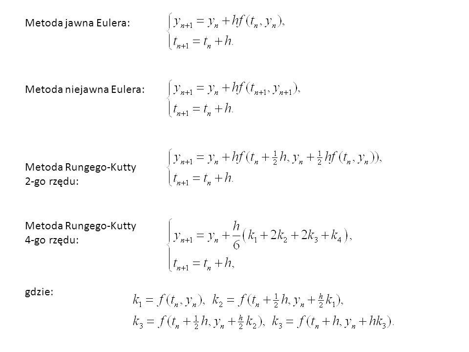 Metoda jawna Eulera: Metoda niejawna Eulera: Metoda Rungego-Kutty. 2-go rzędu: Metoda Rungego-Kutty.