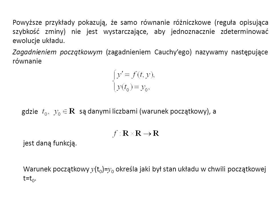 Powyższe przykłady pokazują, że samo równanie różniczkowe (reguła opisująca szybkość zminy) nie jest wystarczające, aby jednoznacznie zdeterminować ewolucje układu.