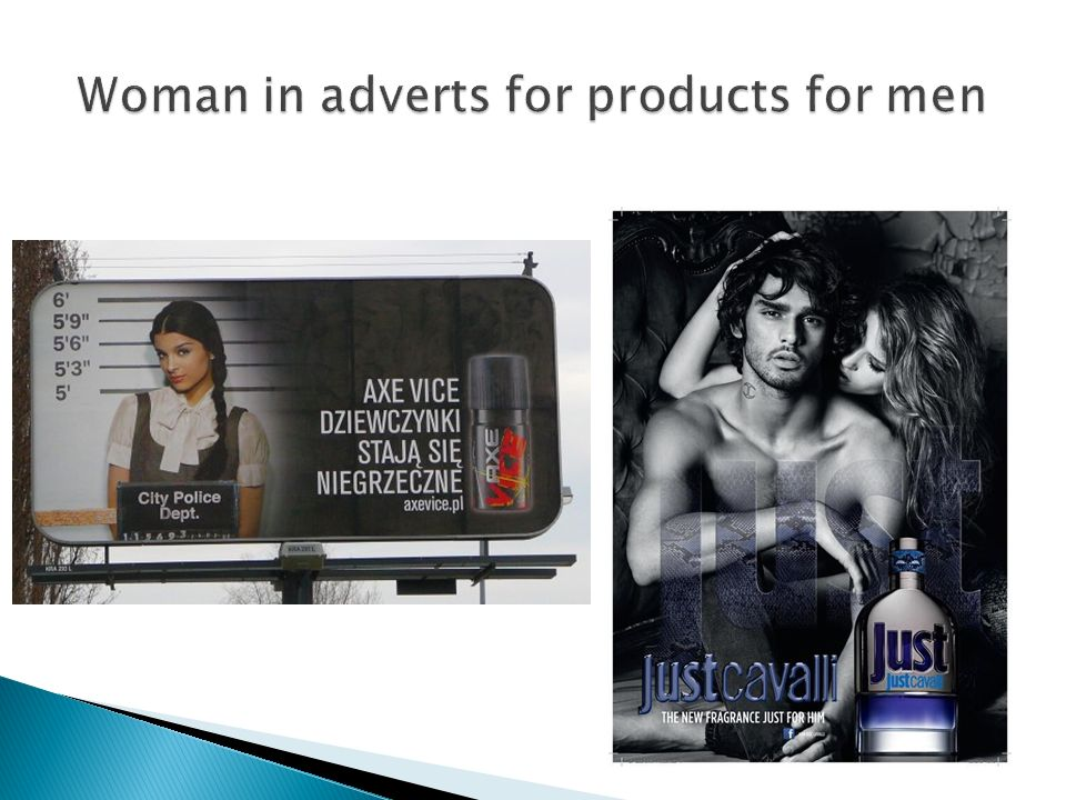 Woman in adverts for products for men