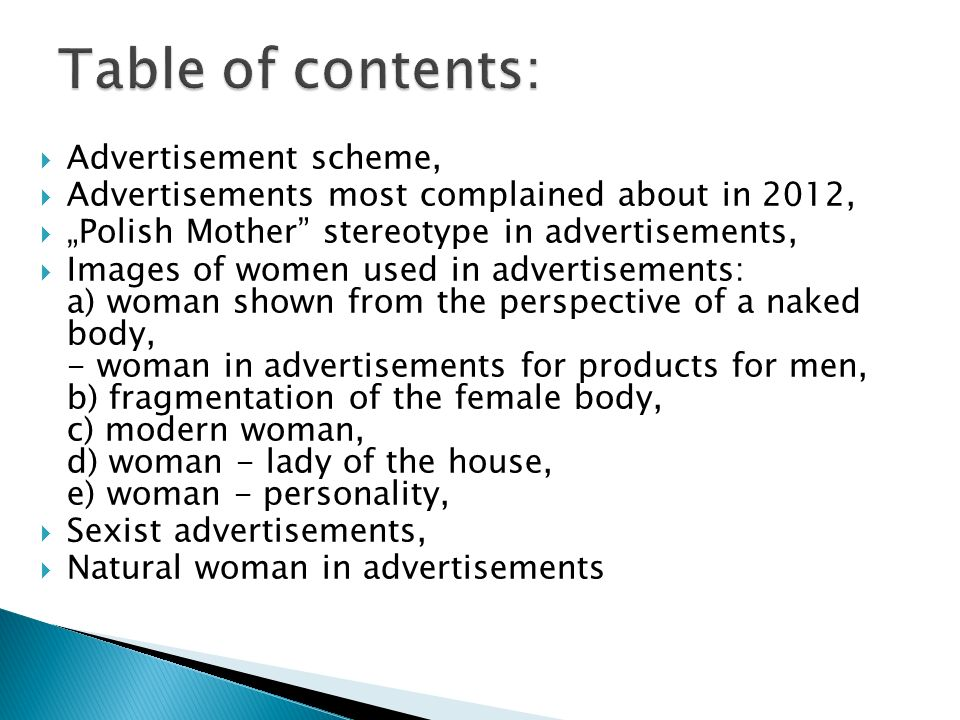 Table of contents: Advertisement scheme,