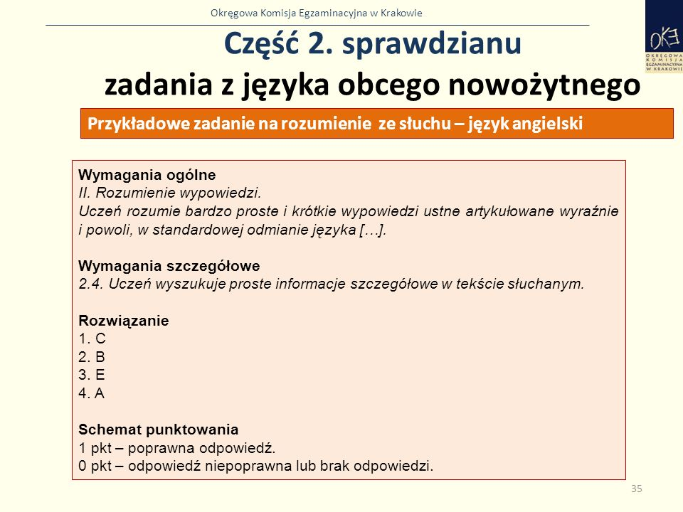 Część 2. sprawdzianu zadania z języka obcego nowożytnego